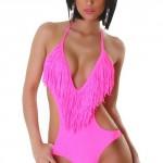 Neonově růžové dámské jednodílné plavky s třásněmi