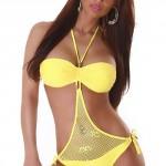 Sexy žluté jendodílné plavky v celku s vypodloženými košíčky