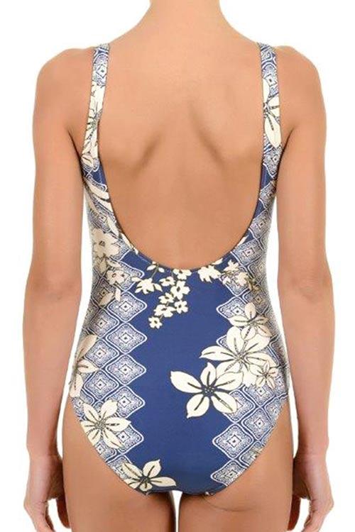 Modrobílé dámské zeštíhlující plavky