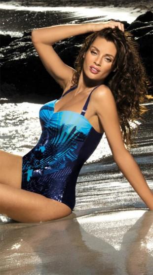Krásné jednodílné plavky s tropickým vzorem a vyztužnými košíčky