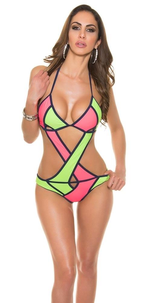 Sexy neonové dámské jednodilné plavky s výraznými průstřihy