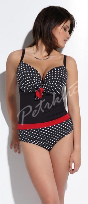 Černobílé puntíkované jednodílné dámské plavky