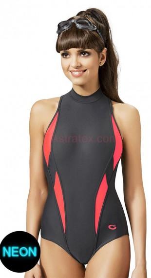 Neonové dámské jednodílné plavecké plavky
