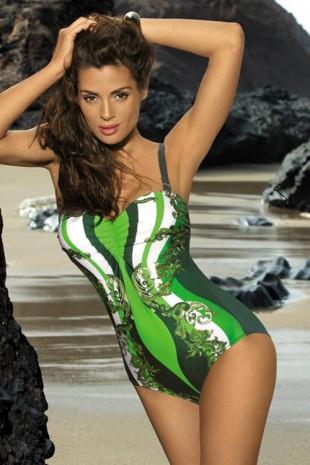 Zelené jednodílné plavky Marko Miriam s exotickými zeštíhlujicími vzory