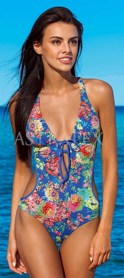 Modré jednodílné plavky s květinovým motivem