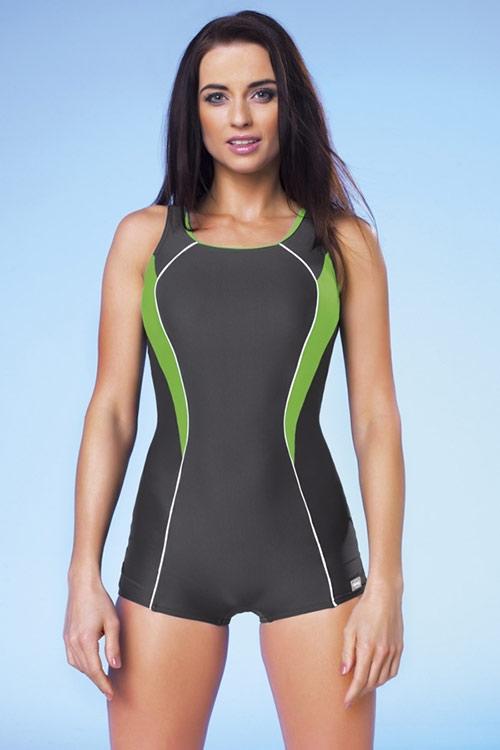 Sportovní plavky Jana šedo-zelené