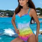 Krásné jednodílné duhové plavky LORIN Roza