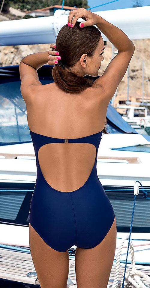 Pruhované modrobílé jednodílné dámské plavky LORIN Samanta