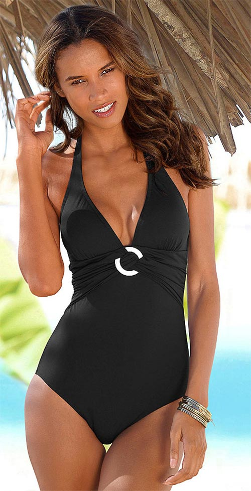 Černé francouzské jednodílné plavky Marie Claire