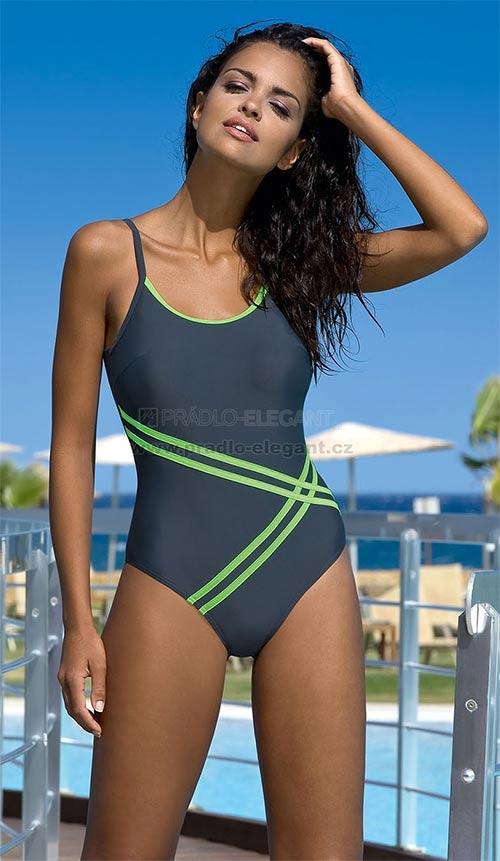 Dámské jednodílné plavky Stripes s všitými košíčky