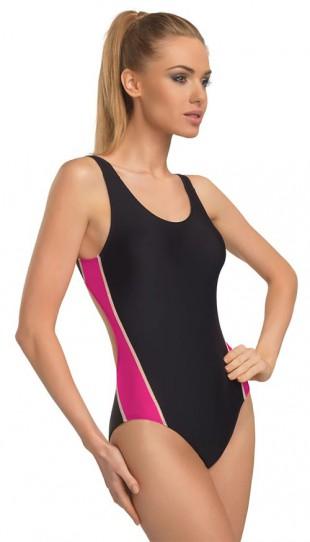 Sportovní černo-růžové plavky gWINNER Wenda I