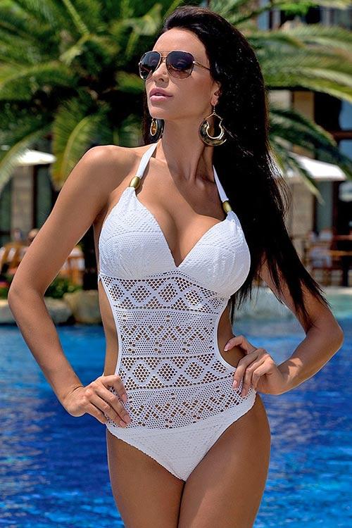 Bílé krajkové jednodílné plavky monokiny - kolekce Česká miss 2016