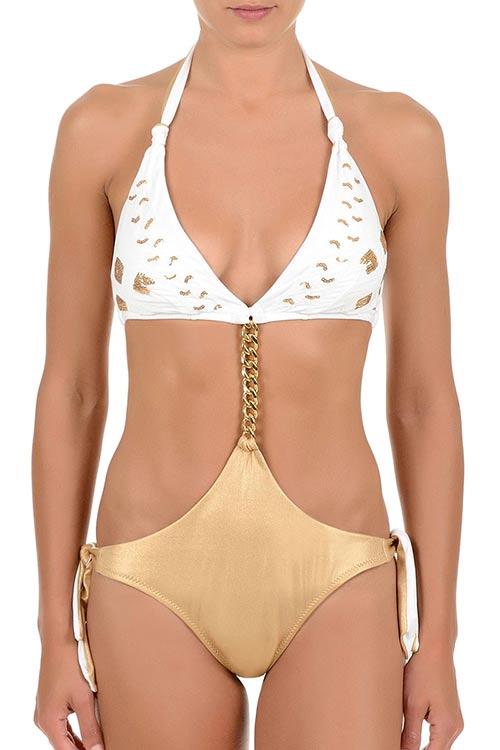 Dámské plavky se zlatým řetízkem