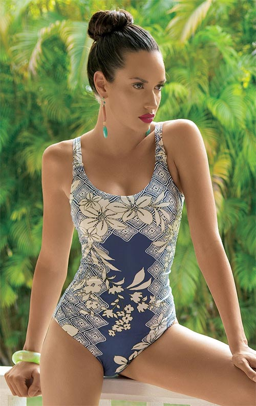 Dámské luxusní jednodílné plavky Cinzia se stahovacím efektem s kosticemi