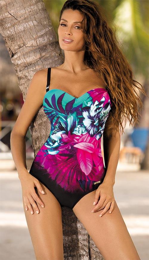 Jednodílné plavky s vyztuženými košíčky a boční kosticí