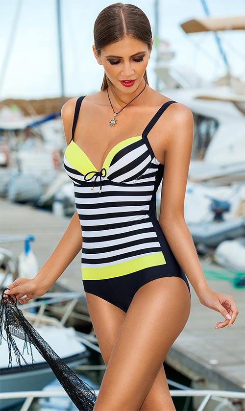 Pruhované jednodílné plavky push up námořnického stylu