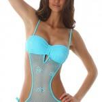 Sexy modré jednodílné plavky se svůdným síťováním