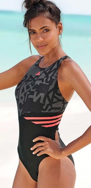 Sportovní plavky Adidas s překříženými ramínky vzadu