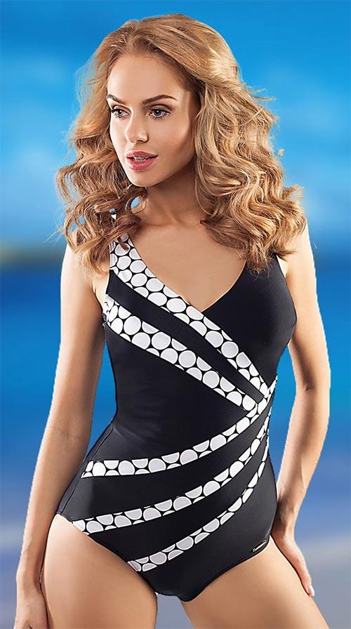 Černobílé jednodílné plavky Capri s vyztuženými košíčky