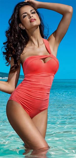 Luxusní červené asymetrické plavky Lorin na jedno ramínko