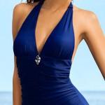 Modré jednodíné plavky Ewlon Casablanca s odhalenými zády