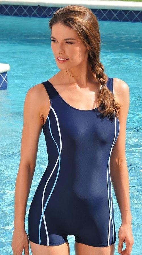Modré sportovní dámské plavky