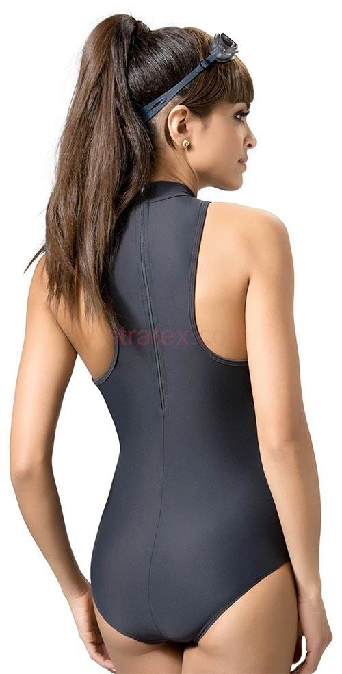 aeffeb8c274 Neonové dámské jednodílné plavecké plavky. Šedé sportovní plavky se zipem  na zádech ...