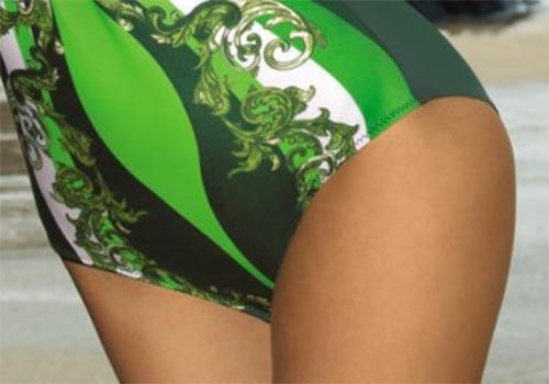 Zelené jendodílné plavky velkých velikostí