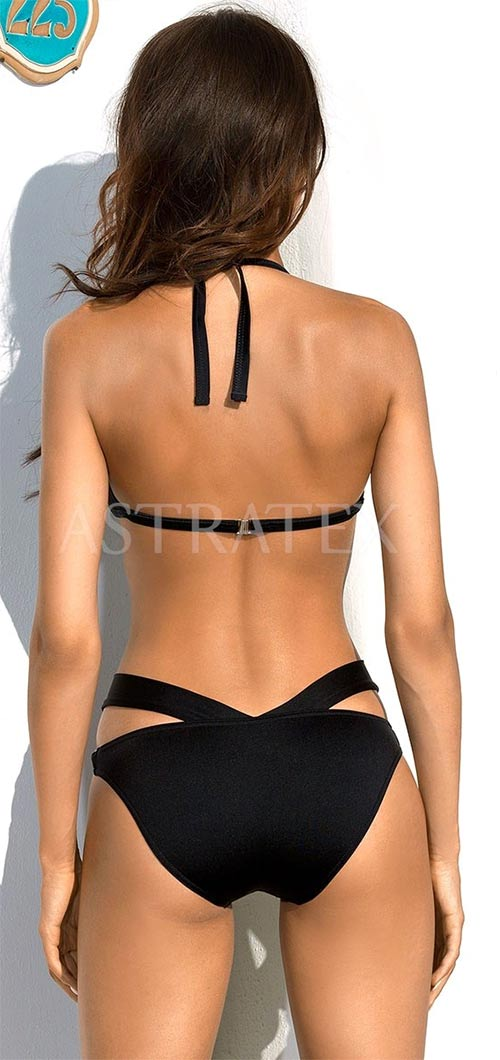 Černé jednodílné plavky se zavazováním za krkem