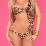 Leopardí dámské monokiny s perličkami a řetízkem