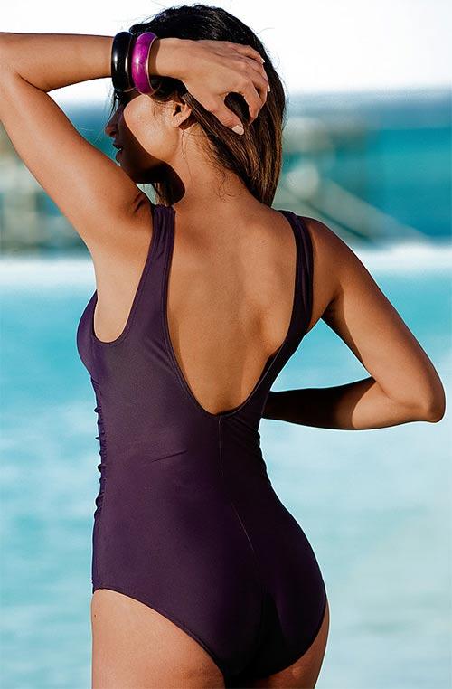 Tmavě fialové dámské plavky
