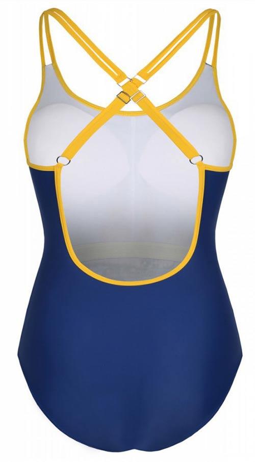 Modré jednodílné plavky s překříženými ramínky