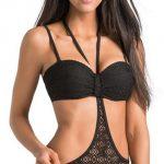 Černé dámské plavky z hačkované krajky