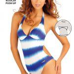 Modrobílé plavky s košíčky push-up Litex 2017