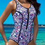 Sportovní dámské plavky s výstřihem na zip
