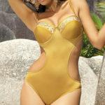 Zlaté jednodílné bardot plavky