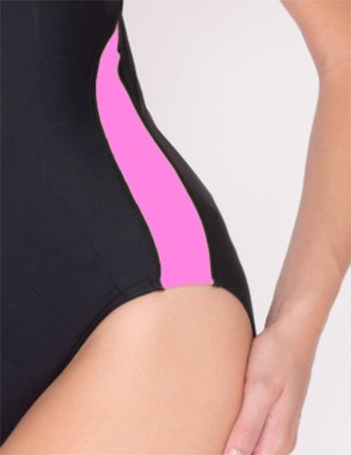 Černo-růžové dámské plavky