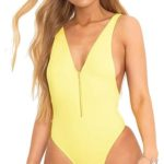 Jednodílné plavky s výstřihem na zip