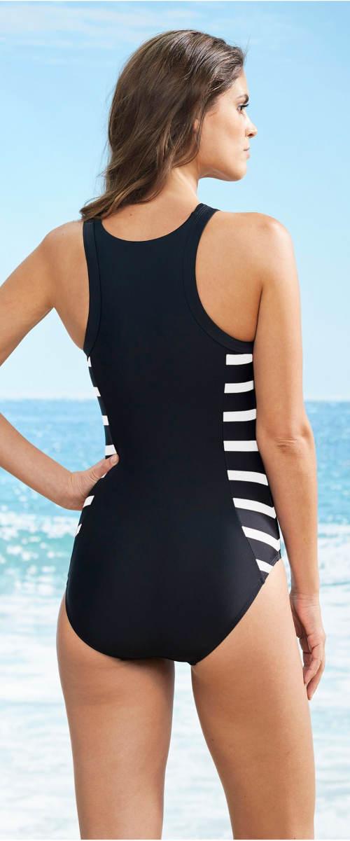 Černobílé jednodílné sportovní plavky