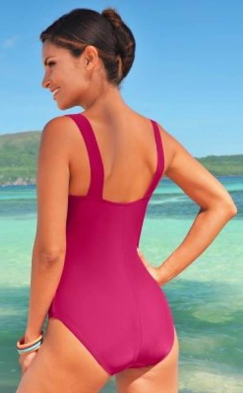Pohodlné růžové jednodílné plavky
