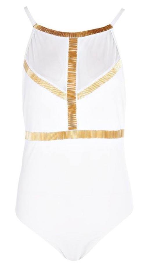 Bílo-zlaté jednodílné plavky