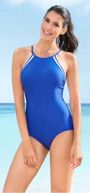 Levné jednodílné plavky se sportovními zády na zip