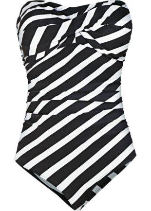 Černobílé zebrované tvarující jednodílné plavky