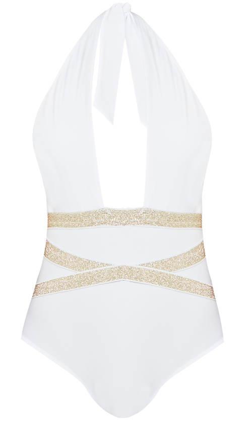 Bílo-zalté dámské plavky