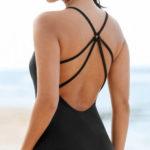 Černé jednodílné plavky se šňůrkovými zády