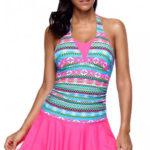 Pruhované tankiny s volnou růžovou sukní