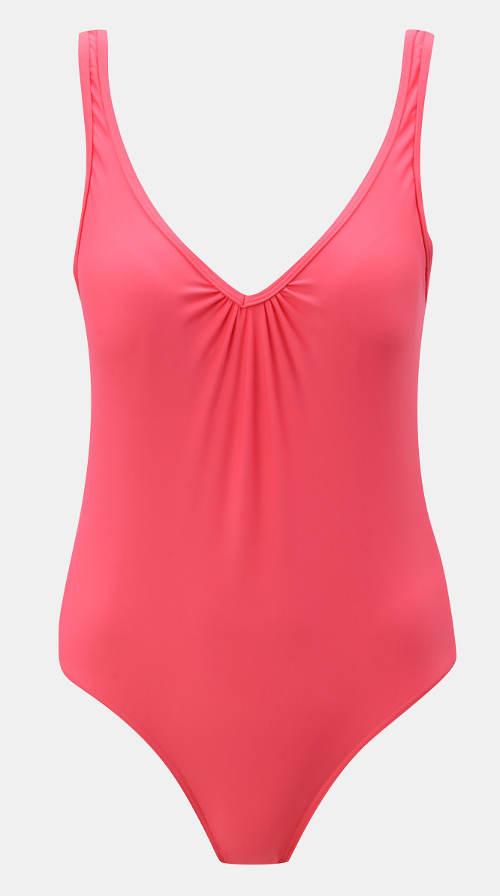 Růžové jednobarevné dámské jednodílné plavky