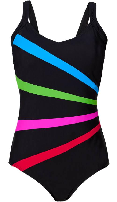 Černé plavky s barevnými neonovými proužky