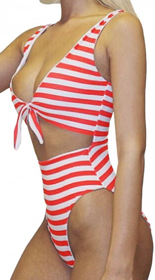 Jednodílné plavky s podprsenkou na mašličku