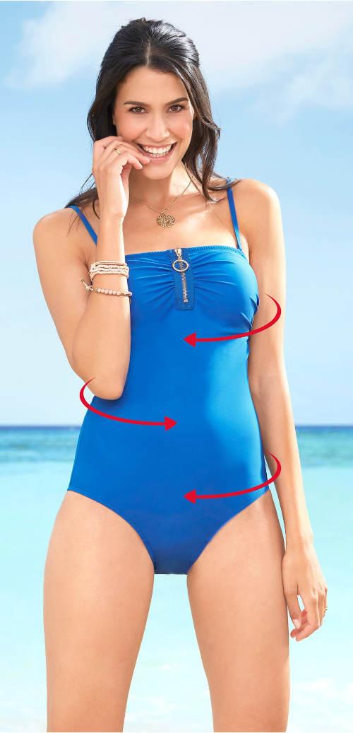 Jednodílné stahovací plavky s odnímatelnými ramínky